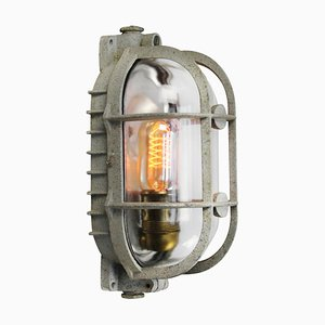Mid-Century Industrial Grey Metal & Glass Sconce from Industria Rotterdam