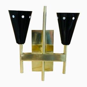 Schwarze Messing Wandlampen, 1950er, 2er Set