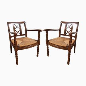 French Walnut & Rush Armchairs, 1940s, Set of 2