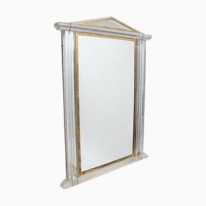 Französischer Spiegel aus Gold & Plexiglas, 1970er