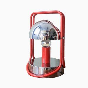 Spanische Rote Chrom Tischlampe, 1970er
