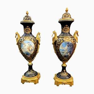 Vaso grande in porcellana di Mouvements Modernes & Sévres, Francia, anni '50, set di 2