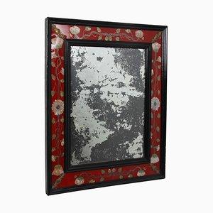 Französischer Spiegel mit Rotem Glasrahmen