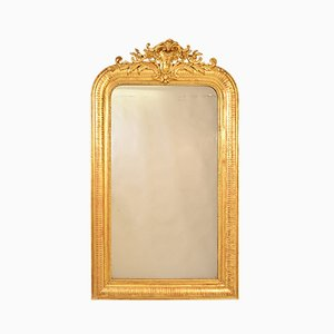 Antique Rectangular Gilded Wall Mirror with Gold Leaf Frame, 19th Century