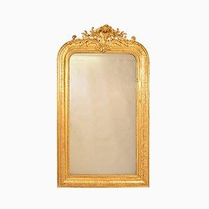 Specchio rettangolare antico dorato con cornice dorata, XIX secolo