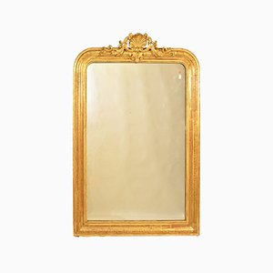 Antique Gilded Wall Mirror with Gold Leaf Frame, 19th Century