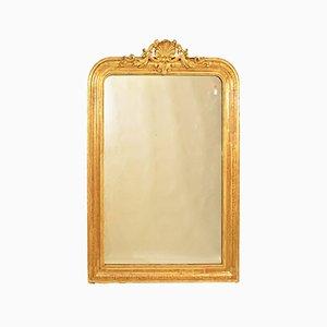 Specchio da parete antico dorato con cornice dorata, XIX secolo