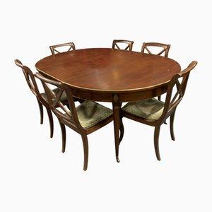 Tavolo da pranzo e sedie in mogano, anni '20, set di 7