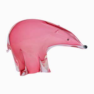 Bear Sculpture in Pink Murano Glass by Archimede Seguso, 1950s