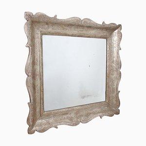 Italienischer Holz & Silber Spiegel, 19. Jh