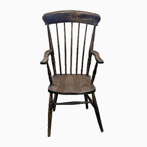 Antiker englischer Ulmenholz Armlehnstuhl, spätes 19. Jahrhundert