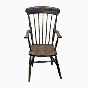 Antique English Elm Armchair, Late 19th Century