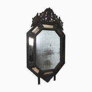 19th-Century French Mercury Glass Mirror wth Oxidized Brass Frame
