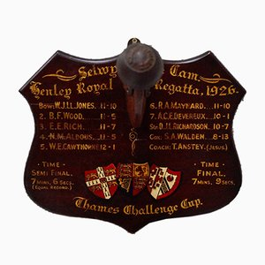 Vintage Rowing Trophy Shield from Stuart's Patent, 1926