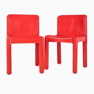 Rote Vintage Esszimmerstühle von Carlo Bartoli für Kartell, 1970er, 2er Set