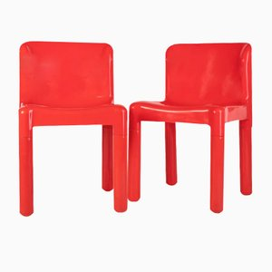Vintage Red Dining Chairs by Carlo Bartoli for Kartell, 1970s, Set of 2