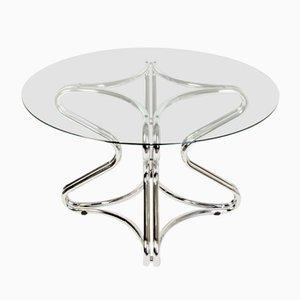 Tavolo da pranzo vintage in metallo e vetro, anni '70