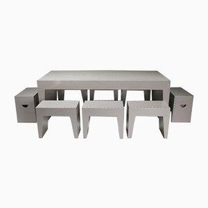 Bossche School Table & Stools by Dom Hans van der Laan & Jan de Jong, 1960s, Set of 9