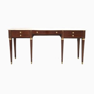 Large Canaletto Walnut & Marble Console Table by Paolo Buffa, 1950s