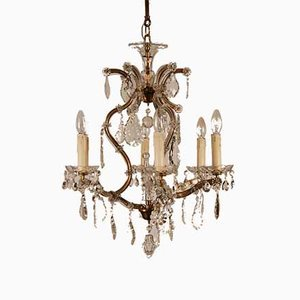 French Louis XVI Style Crystal Chandelier for Maison Charles, 1940s