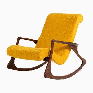 Sedia a dondolo Bouclé vintage gialla, Stati Uniti