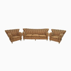 Italian Art Deco Sofa & Armchairs by WIlliam Ulrich, 1940s, Set of 3