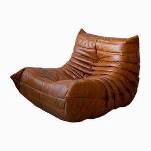 Vintage Pine & Leather Togo Lounge Chair by Michel Ducaroy for Ligne Roset, 1974