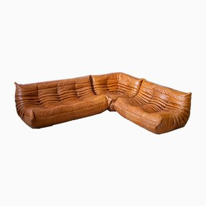 Pine & Leather Togo Living Room Set by Michel Ducaroy for Ligne Roset, 1970s, Set of 3