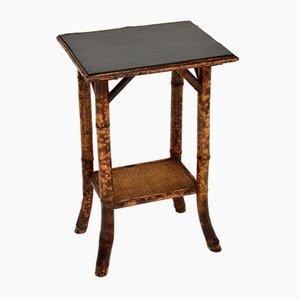 Tavolino vittoriano antico in pelle con ripiano in pelle