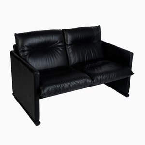 Vintage Black Leather Sofa from Cinova, 1970s