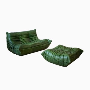 Green Leather Togo Armchair and Pouf by Michel Ducaroy for Ligne Roset, 1970s, Set of 2