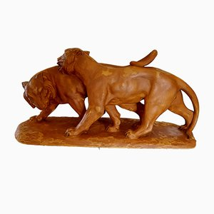 Art Deco Terracotta Lion Sculpture, 1930s