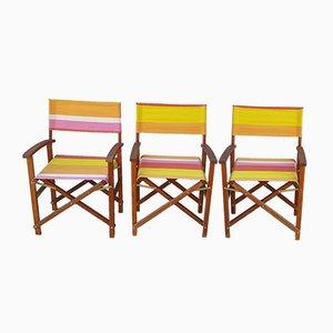Mid-Century Beistellstühle aus Holz, 3er Set
