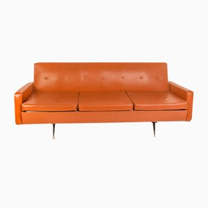 Vintage Brown Leather Vinyl Sofa, 1970s