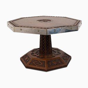 Piatto da tavolo antico in quercia con ripiano girevole