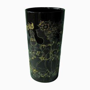 Vase Mid-Century Moderne en Porcelaine Noire par Bjørn Wiinblad pour Rosenthal, 1970s