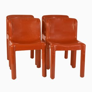 Vintage Brown Dining Chairs by Carlo Bartoli for Kartell, 1970s, Set of 4