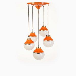 Lampada da soffitto vintage in metallo arancione, anni '70