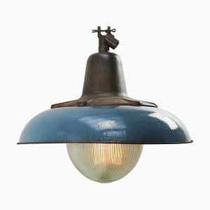 Mid-Century Industrial Dark Blue Enamel & Cast Iron Ceiling Lamp