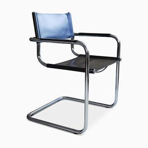 Italian Black Leather & Chrome MG5 Dining Chair by Marcel Breuer, 1970s
