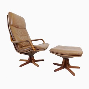 Cognac Leather Lounge Chair & Ottoman from Berg Furniture, 1970s, Set of 2