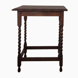 Antique Mahogany & Barley Twisted Leg Side Table, 1800s