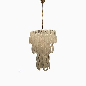 Large Mid-Century Murano Giogali Chandelier by Angelo Mangiarotti for Vistosi, 1970s