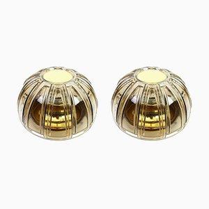 Applique in ottone e vetro ambrato di Limburg, Germania, anni '60, set di 2