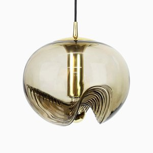 Large German Smoked Glass Pendant Light by Koch & Lowy for Peill & Putzler, 1970s