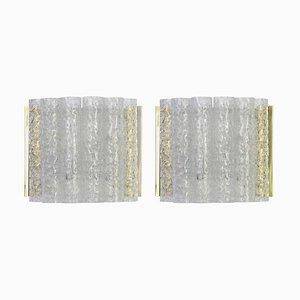 Deutsche Wandleuchten aus Messing & Eisglas von Doria Leuchten, 1960er, 2er Set