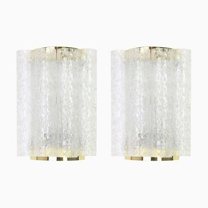 German Brass & Ice Glass Sconces from Doria Leuchten, 1960s, Set of 2