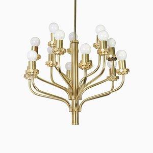 Lámpara de araña Mid-Century de latón al estilo de Sciolari de Leuchten, años 70