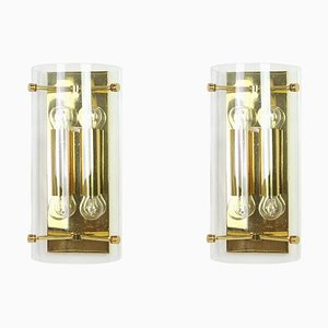 Large German Glass Sconces from Limburg, 1960s, Set of 2