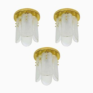 Austrian Brass & Murano Glass Ceiling Lamp from Kalmar, 1970s